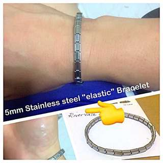 "Stainless Steel ""Elastic"" Bracelet [Unisex Wristbands bangles customised to wrist size gifts presents uncle.anthony uncle anthony uac ] FOR MORE PICS & DETAILS, 👉 http://carousell.com/p/149972761"