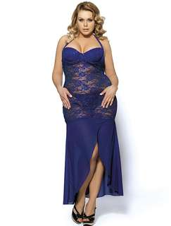 Long Blue Lace Lingerie PLUS Size ( PREORDER )
