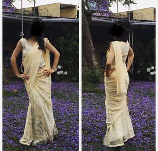 Beige Indian Lehenga/Sari Set