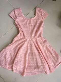 pastel pink lace skater dress