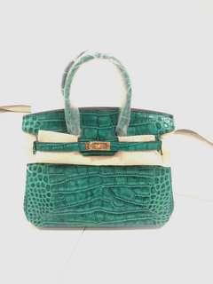 H bag emerald green crocodile 25