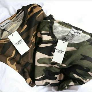 NEW T-SHIRT ARMY PULL&BEAR (SISA BROWN)