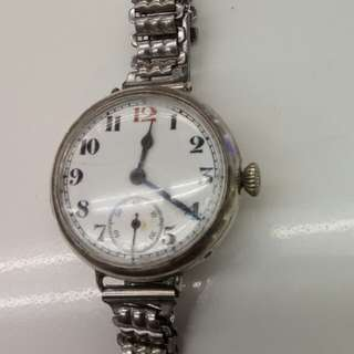 925純銀殼陶瓷面 1909年瑞士製上鏈鋼帶錶