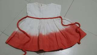 Chateau de sable white orange 3mo dress