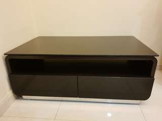 Black glossy glass coffee table