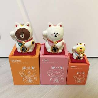 Line friends Brown Cony Sally 招財貓