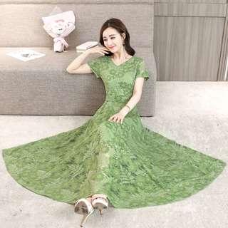 🚚 2018韓版蕾絲短袖V領修身連衣裙夏裝新款 韓版收腰顯瘦小碎花大擺裙洋裝