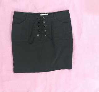 Black Skirt with Front Tie