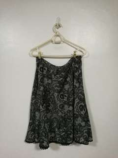 Black and White Lace Patterned Skirt