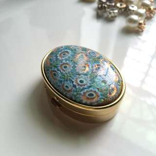 藍色清新玻璃花金色藥盒 隨身盒 首飾盒 戒指盒
