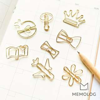 Classy Gold Metal Paper Clips Bookmark