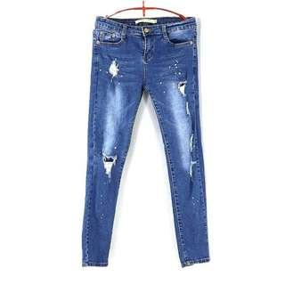 🚚 專櫃品牌【SIN MAU IS SEXY】潑漆破損感低腰彈力窄管牛仔褲