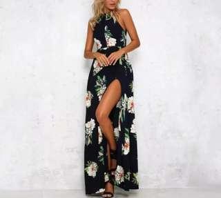 Floral Maxi Chiffon Dress Split Backless