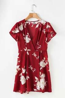 Ready Stock Red Floral Wrap Dress