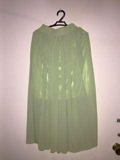 Green boho skirt