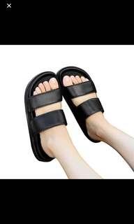 Ulzzang black basic two strap slider slides slipper sandals