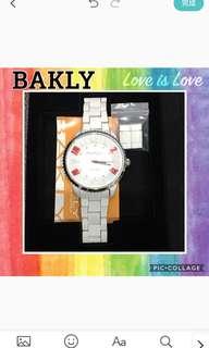 🚚 BAKLY 白色 石英錶 大錶徑 男女都適用
