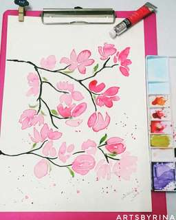 Cherry blossom watercolor artist painting