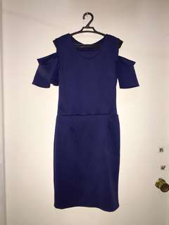 Royal blue cold shoulder dress