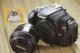 Kamera CANON KISS X5 Atau 600D plus lensa fix YN 50mm F1.8