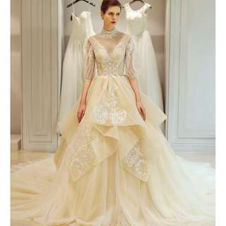 Pre order cream long sleeve fishtail wedding bridal prom evening dress gown  RB0605