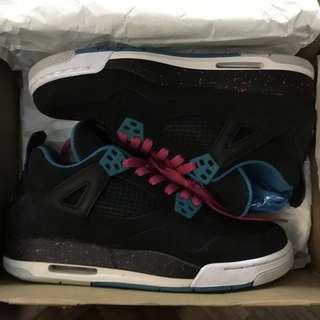 pretty nice 6ca8a bf1b9 Air Jordan 4 Retro Black Vivid Pink Dynamic Black and White Size 5.5Y -  Women