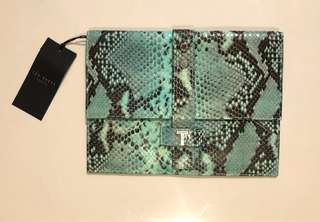 Authentic Ted Baker leather clutch iPad case small bag snake print green Tiffany blue party clutch wedding evening bag