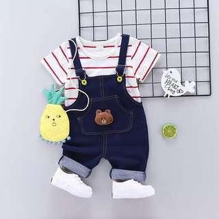 熊款吊帶褲➕條紋上衣分開式套裝❤️兩色