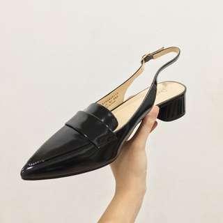 💯 Daphne Black PU Sandals Low Heels