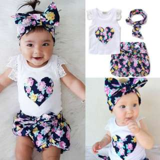 Infant Toddler Baby Girl Floral T-shirt Top Tank Vest+Short Pants Clothes Outfit