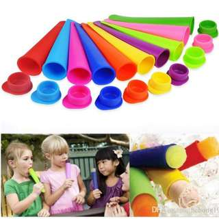Colored silicone ice lolly maker set of 6