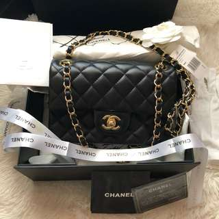 CHANEL SINGLE FLAP 20cm softcalf leather