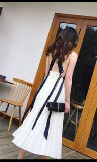 Pleated white maxi dress