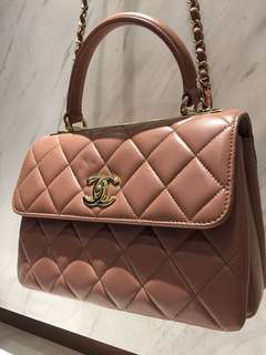 Chanel Flap Bag with Top Handle💗限量色豆沙粉紅