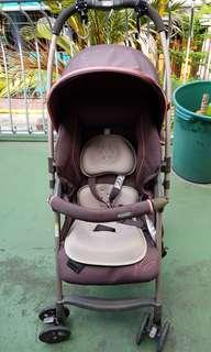 Combi Baby Stroller Maroonish Brown Reversible