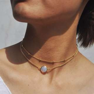 Moonstone Chain Choker Necklaces Gold Layered Necklaces