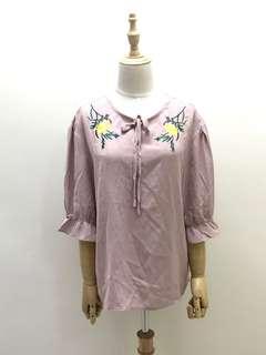 🚚 全新 淡粉色雪紡刺繡上衣