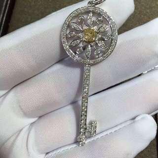 Tiffany 蒂芙尼 鑽石黃鑽鎖匙項鏈