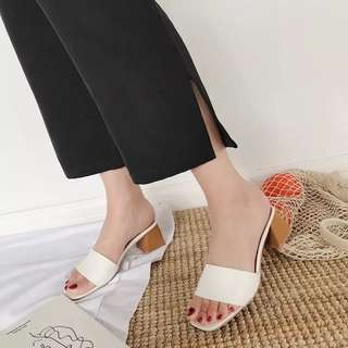 Thick with half-slip female summer Korean version with the word flip-flops fish head high-heeled beach sandals