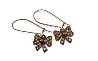 Korea ✈️ 韓國製造 優雅復古銅色蝴蝶結🎀鑲茶色奧地利水晶鑽耳環 特價