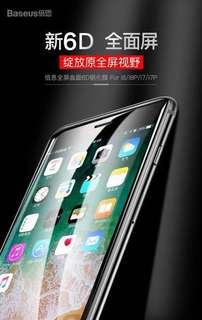 倍思蘋果7鋼化膜iPhone8plus全屏覆蓋6D玻璃手機8水凝藍光7p貼膜