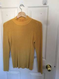 Yellow turtle neck