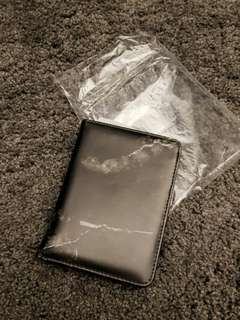 Black marble passport and travel wallet
