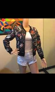 floral leather jacket