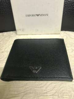 Emporio Amani black leather wallet 黑色真皮 銀包 100%全新