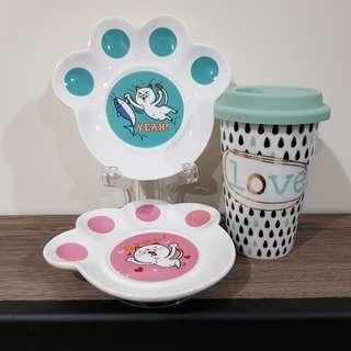【全新】ORBIS 「LOVE ECO」陶瓷環保杯+DHC良子喵-貓掌小盤組(2個盤子)2件套組#含運費