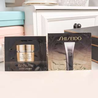 Shiseido skincare sample bundle / set • extra rich cleansing foam & re nutriv ultimate lift regenerating youth eye cream