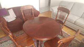 Brown Round real wood dining table with 4 chairs