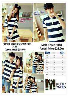 Couple Outfit - T-shirt, Blouse,  Short Pants