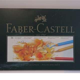 綠色鐵盒  專業級 Faber-Castell  36 色 polychromos  color pencils 木顏色筆 德國 輝柏嘉 $399  手快有 不是水溶 蠟筆